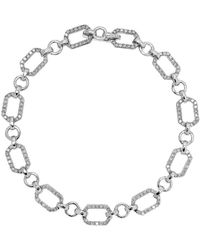 Lord & Taylor - Diamond And 14k White Gold Linked Bracelet - Lyst