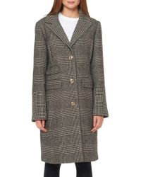 Ellen Tracy - Plaid Notch-collar Long Coat - Lyst