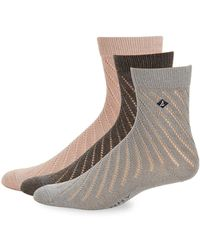 Sperry Top-Sider - Three-pack Open-knit Crew Socks - Lyst