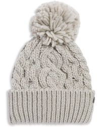 Rella - High-rise Pom-pom Cable Knit Beanie - Lyst