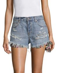 Free People - Distressed Denim Shorts - Lyst