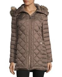 Kenneth Cole - Diamond Faux Fur-trimmed Down Coat - Lyst