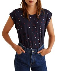 Mango - Chalover Printed Cotton Tee - Lyst
