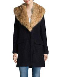 Belle By Badgley Mischka - Wool-blend Faux Fur Collar Walker Coat - Lyst