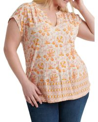 Lucky Brand Plus Woodblock Printed Top