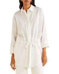 Mango - Striped Bow Blouse - Lyst
