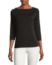 Jones New York - Cotton Three-quarter Sleeve Pullover - Lyst