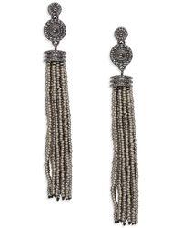 Lord & Taylor - Beaded Tassel Earrings - Lyst