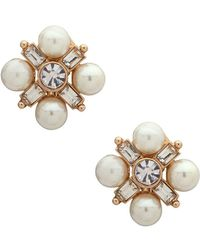 Anne Klein Faux Pearl & Crystal Clip-on Earrings