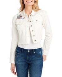 Jessica Simpson - Classic Distressed Denim Jacket - Lyst