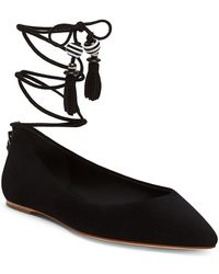 B Brian Atwood - Skylar Lace-up Point Toe Flats - Lyst