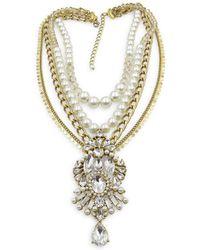 Badgley Mischka Pearl Party Rhinestone Multi-row Necklace - Metallic
