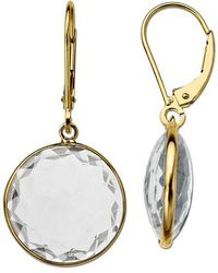 Lord & Taylor - White Topaz Earrings In 14k Yellow Gold - Lyst