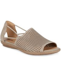 Earth - Shelly Perforated Cutout Nubuck Leather Sandals - Lyst