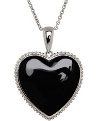 Lord & Taylor - Onyx And Sterling Silver Heart Pendant Necklace - Lyst