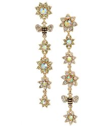 Betsey Johnson - Mixed Flower & Bumble Bee Mismatch Linear Earrings - Lyst