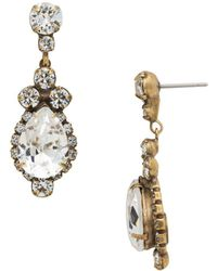 Sorrelli - Core Central Teardrop And Round Crystal Earrings - Lyst
