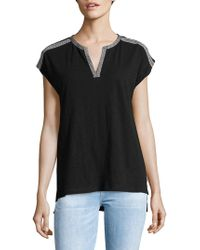 Lord & Taylor - Petite Embroidered Tape Cotton Tee - Lyst