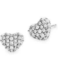 Michael Kors Kors Love Pavé Heart Sterling Silver Stud Earrings In 14k Gold - Plated Sterling Silver