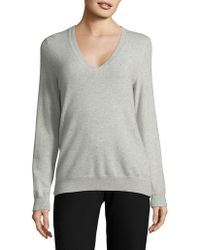 Lord & Taylor - Long Sleeve Embellished V-neck Sweater - Lyst