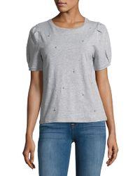 Kensie - Embellished Short-sleeve Cotton Top - Lyst