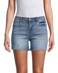Kensie - Frayed Hem Denim Shorts - Lyst