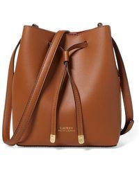 Lauren by Ralph Lauren - Dryden Drawstring Leather Mini Bucket Bag - Lyst