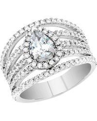 Lord + Taylor - Rhodium-plated Sterling Silver And Cubic Zirconia Open Work Teardrop Halo Engagement Ring - Lyst