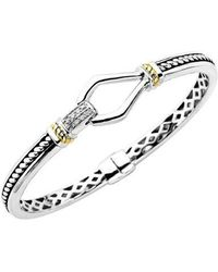 Lord & Taylor - Sterling Silver With 14kt. Yellow Gold Diamond Bracelet - Lyst