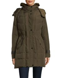 Kenneth Cole - Faux Fur Trimmed Down Parka - Lyst