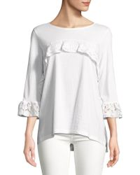 Lord & Taylor - Crochet Lace Trim Top - Lyst