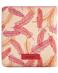 Mango - Feather Printed Faux Leather Wallet - Lyst