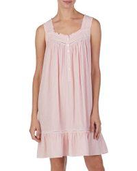 Eileen West - Striped Ruffle Trimmed Nightgown - Lyst