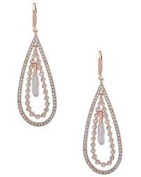 Ak Anne Klein - Rose Goldtone And Crystal Teardrop Orbital Earrings - Lyst