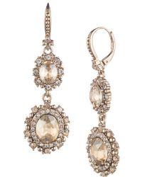 Marchesa - Crystal Double Drop Earrings - Lyst
