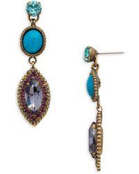 Sorrelli - Jewel Tone Yarrow Turquoise And Crystal Drop Earrings - Lyst