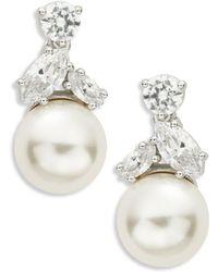 Nadri - Faux Pearl Cluster Drop Earrings - Lyst