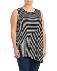 Vince Camuto - Plus Striped Asymmetrical Tunic - Lyst