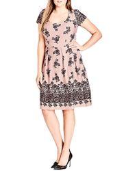 City Chic - Flocked Dress - Lyst