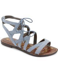 3eef3766b41186 Lyst - Sam Edelman Gemma Suede Flat Lace-up Sandal in Black