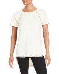 Lord & Taylor - Crochet-trimmed Tee - Lyst