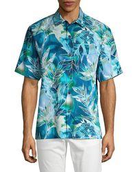 Tommy Bahama Lagoon-print Short-sleeve Shirt - Blue
