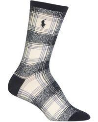 Ralph Lauren - Ombre Plaid Crew Socks - Lyst