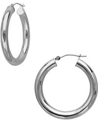 Lord & Taylor - 14k White Gold Round Tube Hoop Earrings - Lyst