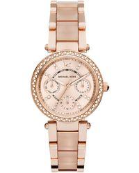 Michael Kors - Mini Parker Pave Rose Goldtone Stainless Steel & Acetate Chronograph Bracelet Watch - Lyst