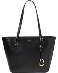 Lauren by Ralph Lauren - Black Leather Tote Bag With Zip - Lyst