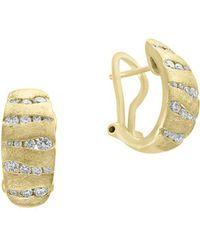 Effy - D'oro Diamond And 14k Yellow Gold Omega Clip Earrings - Lyst