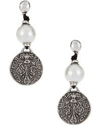 Uno De 50 - Faux Pearl And Metal Drop Earrings - Lyst