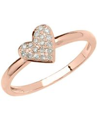 Lord & Taylor - 14kt Rose Gold And Diamond Heart Ring - Lyst