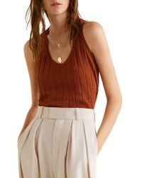 Mango - Ribbed Knit Tank Top - Lyst